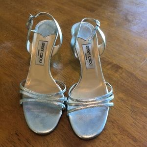 EUC Jimmy Choo 37.5 (7.5 US) metallic heels!